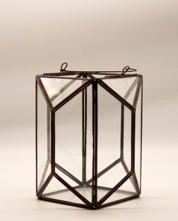 """Lantern """"Polygon"""" copper & glass handmade height 20 cm color brown antique"""