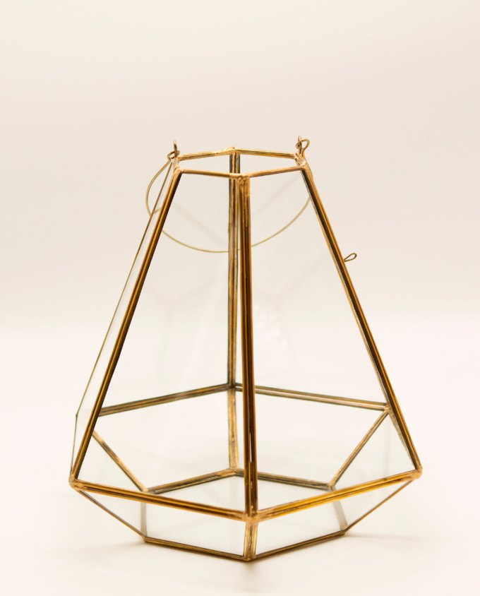 Lantern handmade glass copper gold pyramid