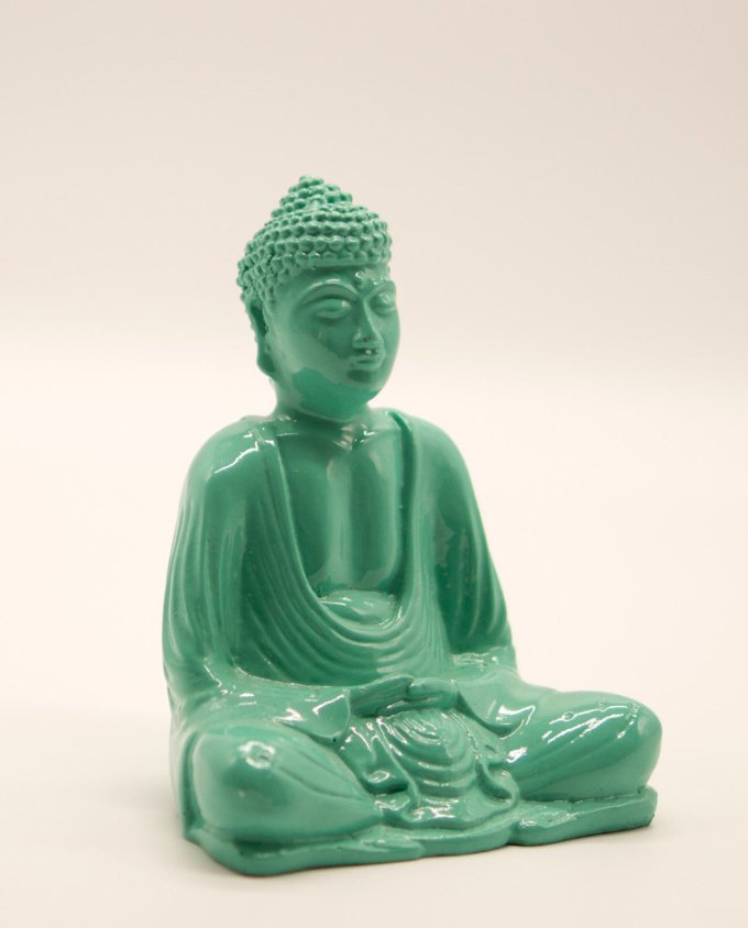 Βούδας ρητίνη ύψους 15 cm σε στάση διαλογισμού τιρκουαζ