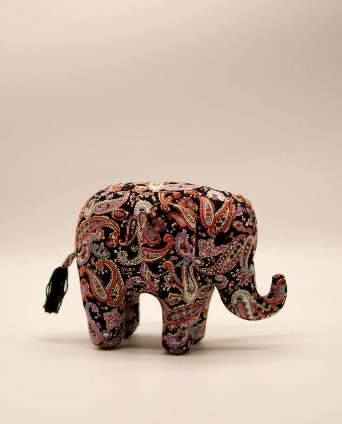 Elephant batik fabric handmade black medium
