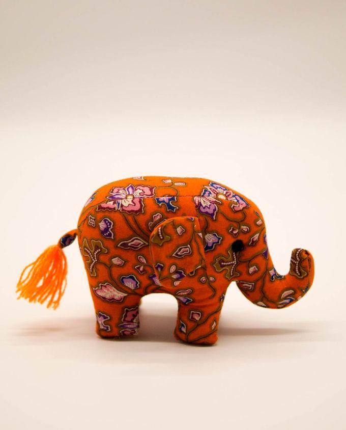Ελέφαντας υφασμάτινος μπατικ χειροποίητος μικρό μέγεθος πορτοκαλί