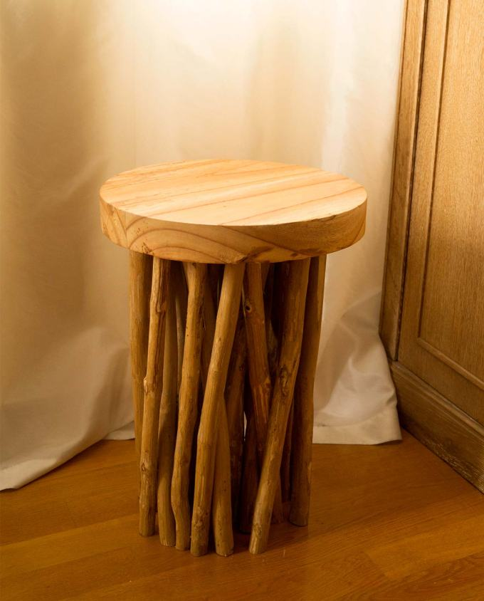 Wooden twig stool height 50 cm