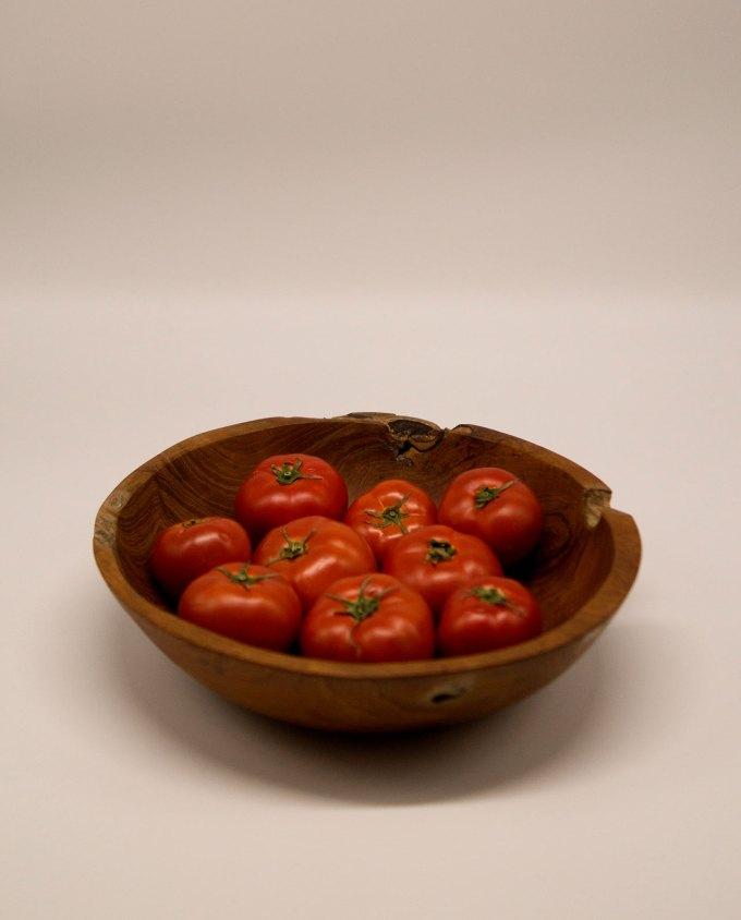 Μπωλ ξύλο Τικ διαμέτρου 40 cm με λαχανικά
