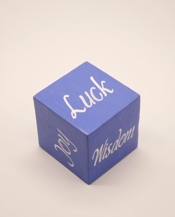 Κύβος ξύλινος χειροποίητος με θετικές λέξεις χρώμα