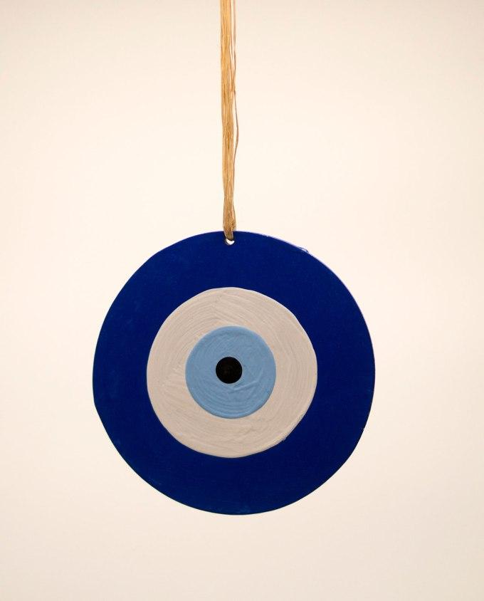 Ματάκι ξύλινο χειροποίητο μπλε διαμέτρου 13 cm