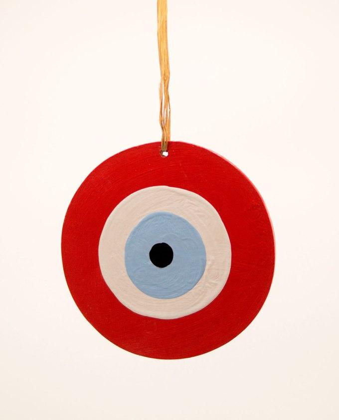 Ματάκι ξύλινο χειροποίητο κόκκινο διαμέτρου 13 cm