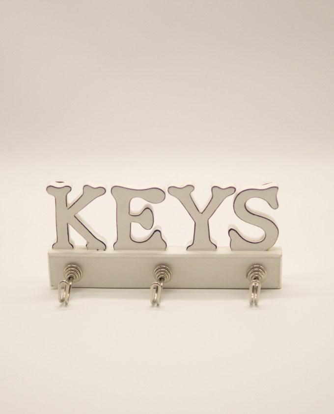 Κρεμάστρα κλειδιών ξύλινη χειροποίητη άσπρη
