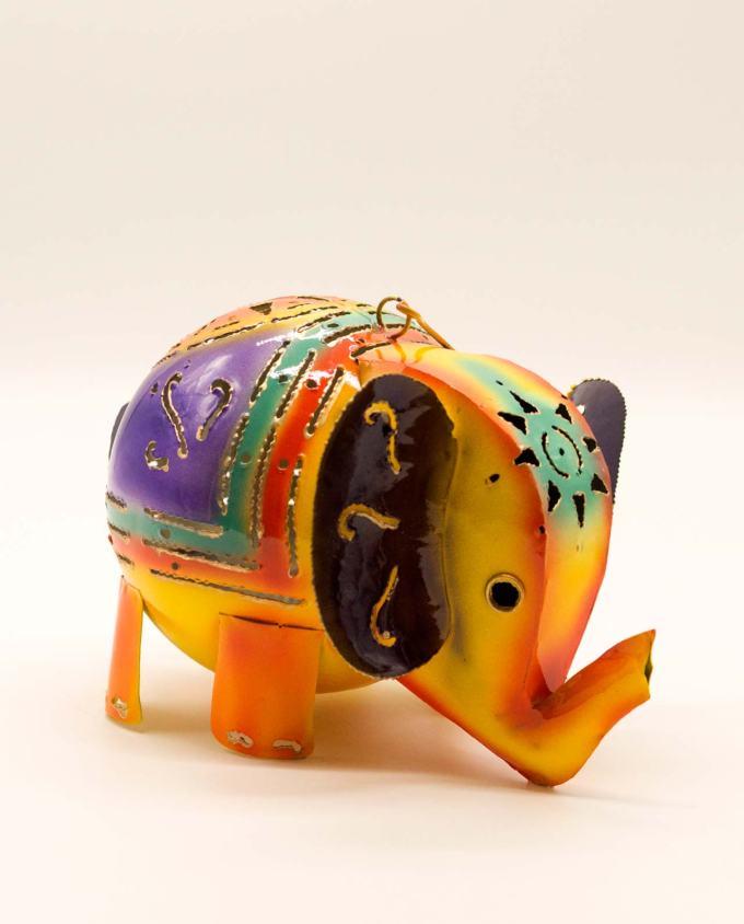 Φανάρι χειροποίητο μεταλλικό ελέφαντας κίτρινος