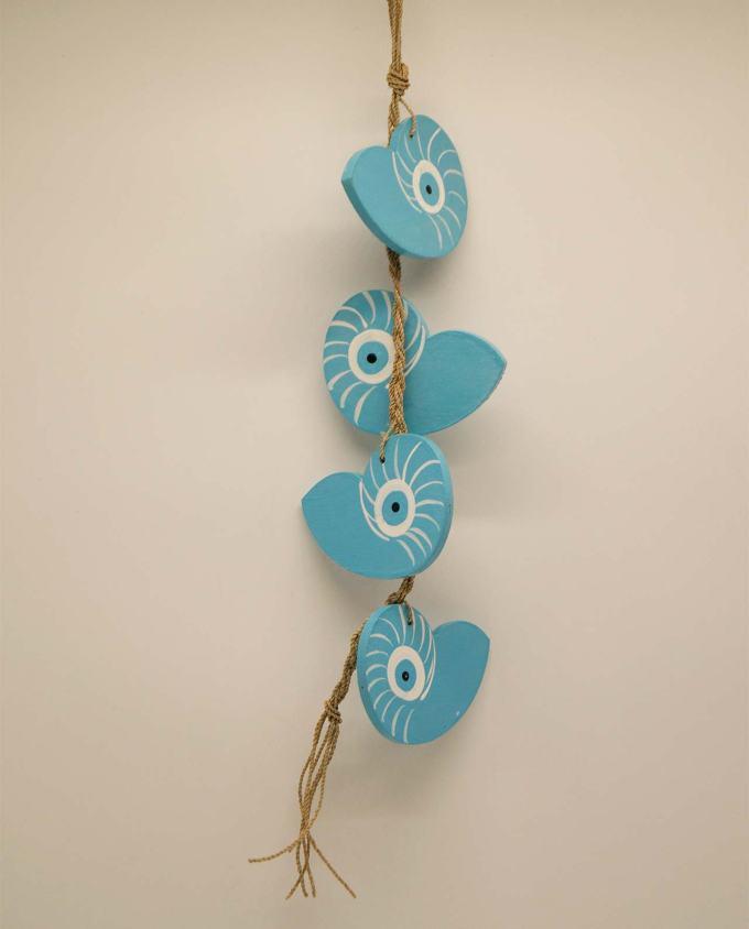Γιρλάντα 4 κοχύλια Ναυτίλος ματάκι ξύλινα γαλάζια