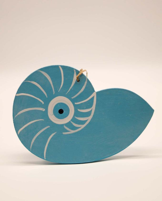 Seashell Nautilis evil eye wooden handmade light blue