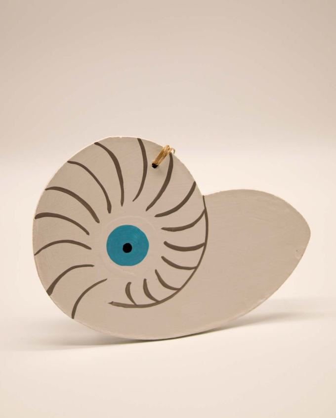 Seashell Nautilis evil eye wooden handmade white