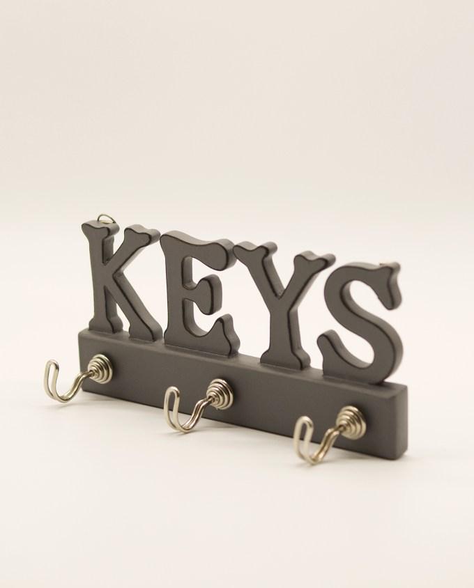 Κρεμάστρα κλειδιών ξύλινη χειροποίητη γκρι
