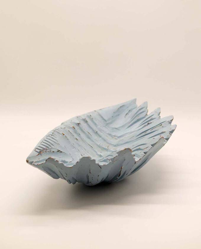 Μπωλ ξύλινο αχιβάδα γαλάζια ντεκαπέ