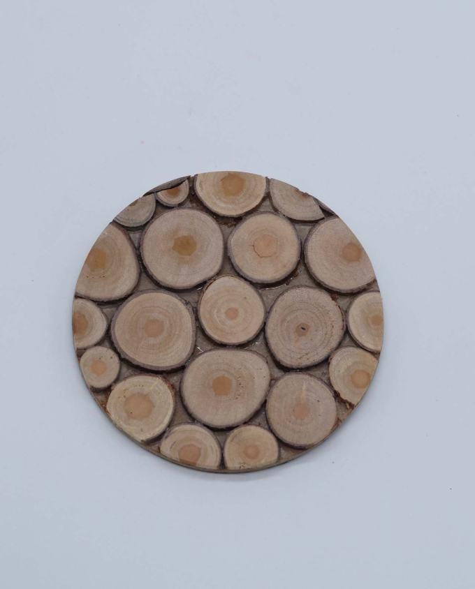 Σουβέρ ξύλινο στρογγυλό χειροποίητο
