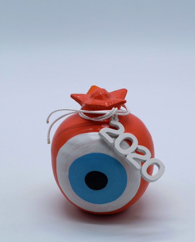 Lucky charm 2020 round orange pomegranate wooden