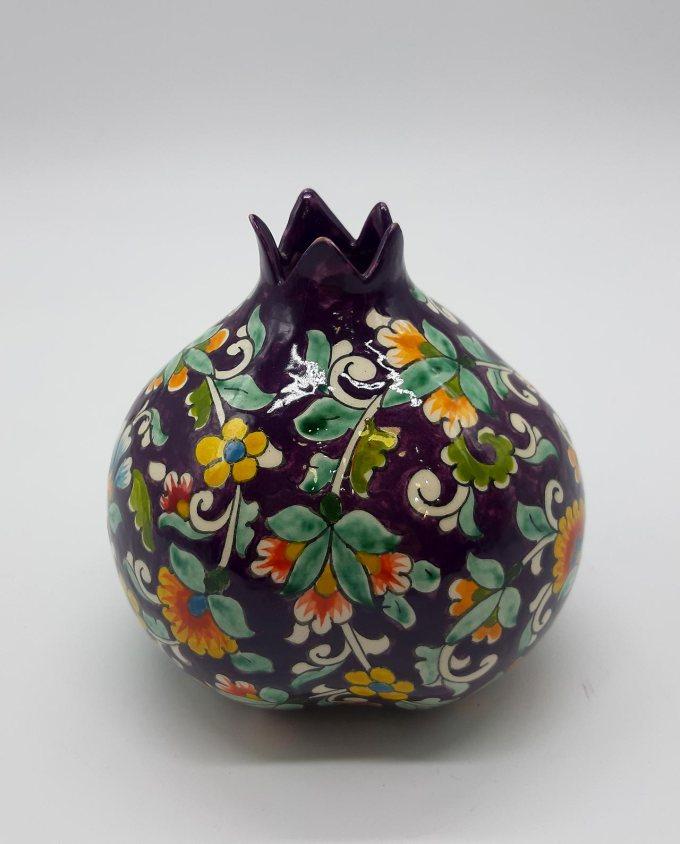 Ρόδι κεραμικό μωβ με λουλούδια διαμέτρου 12 cm