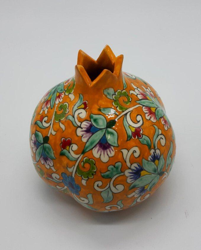 Ρόδι κεραμικό πορτοκαλί με λουλούδια διαμέτρου 12 cm
