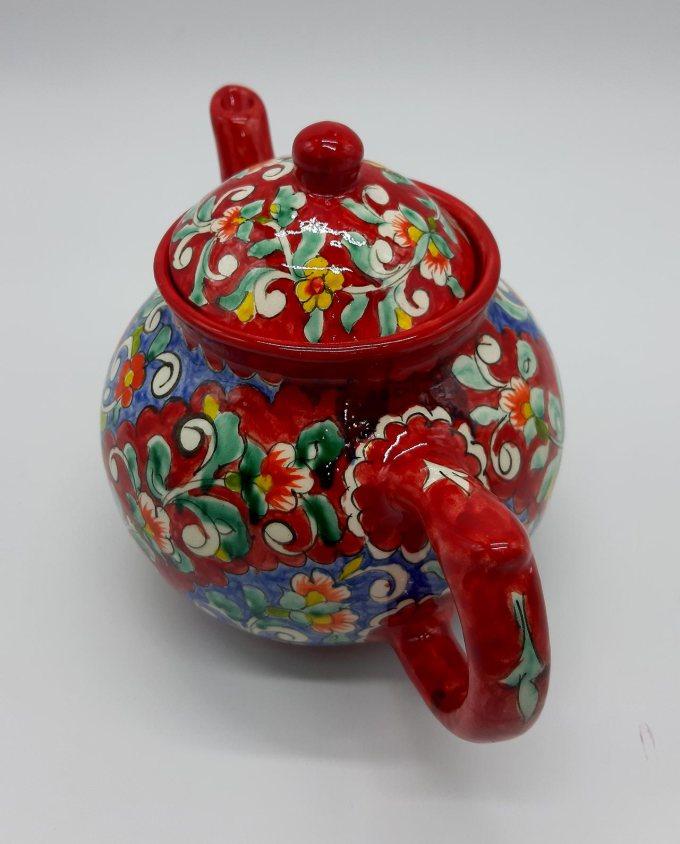 """Τσαγιέρα κεραμική κοκκινη """"ζωγραφισμένη στο χέρι με λουλούδια"""