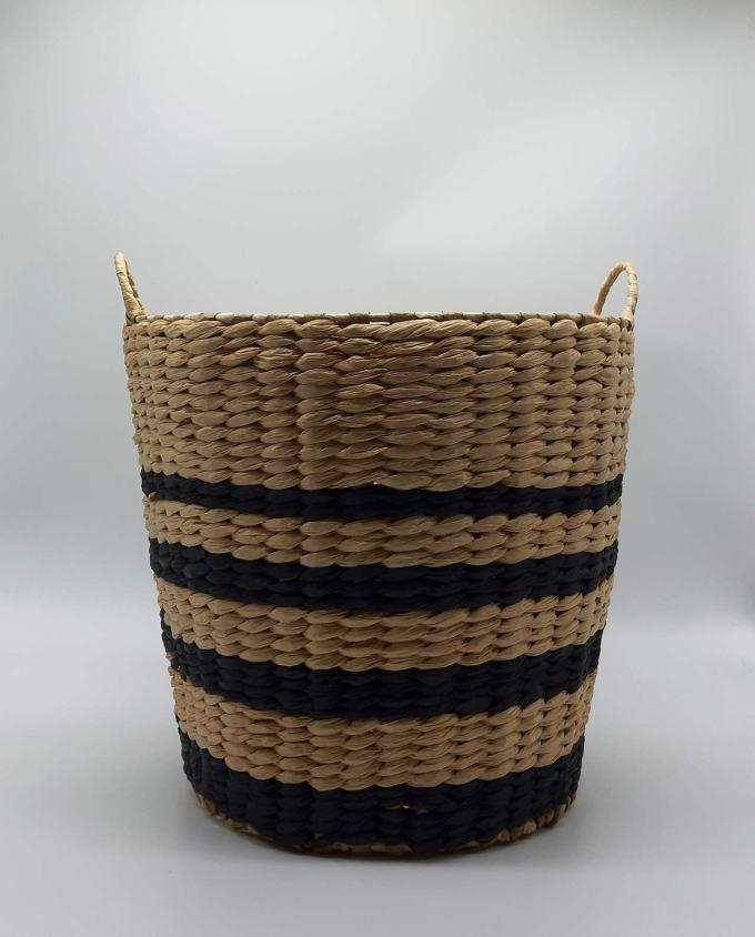 Basket Raffia black stripes height 34 cm