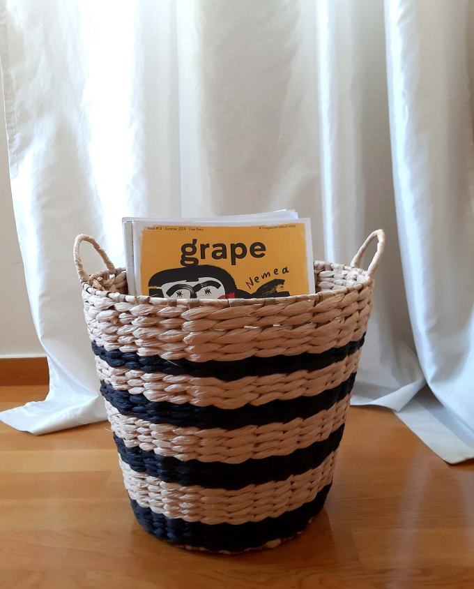 Basket Raffia black stripes height 28 cm