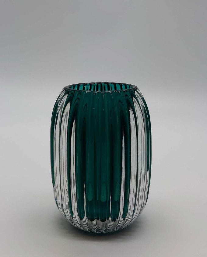 Ρεσώ γυάλινο ριγωτό πετρολ ύψος 13 cm