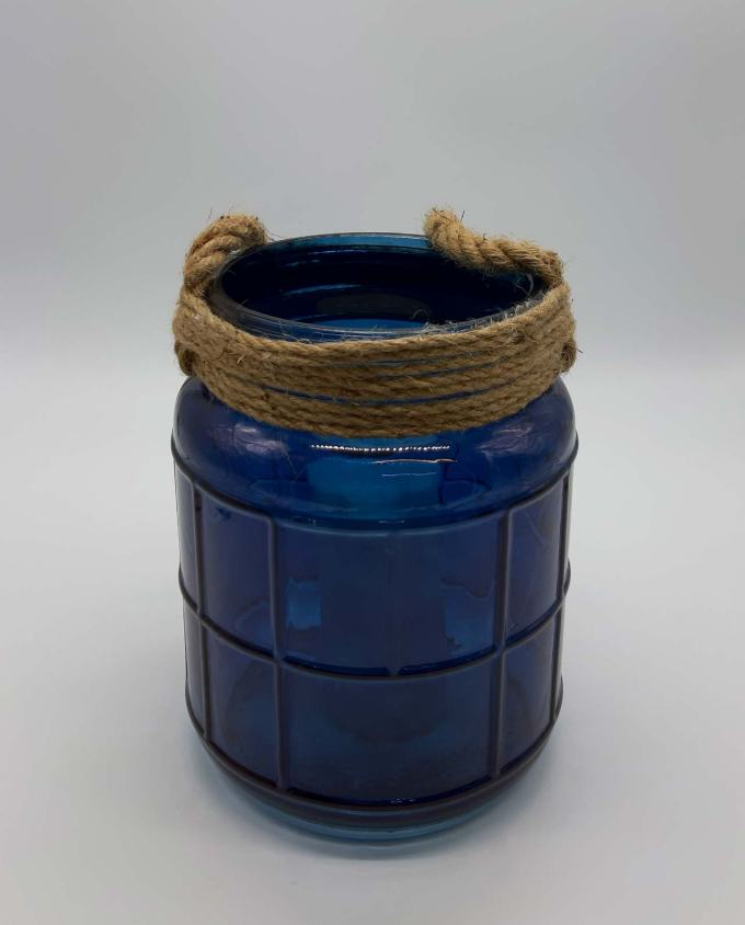 Lantern glass with rope blue height 25 cm