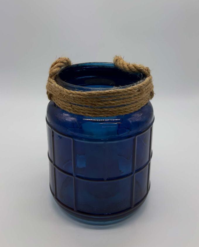 Φανάρι γυάλινο με σχοινί μπλε ύψους 25 cm