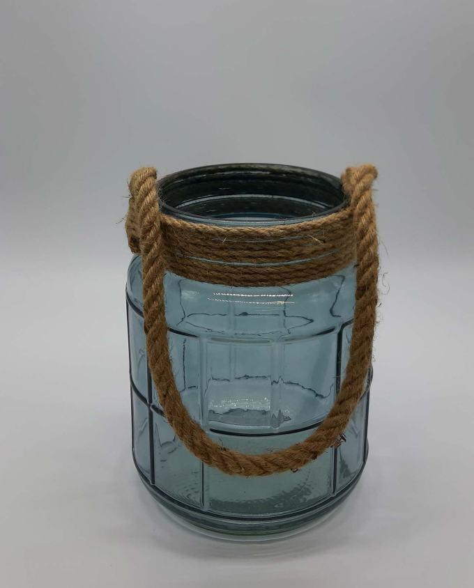 Φανάρι γυάλινο με σχοινί γαλάζιο ύψους 25 cm
