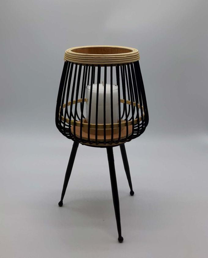 Φανάρι από γυαλί και bamboo με πόδια ύψους 41 cm
