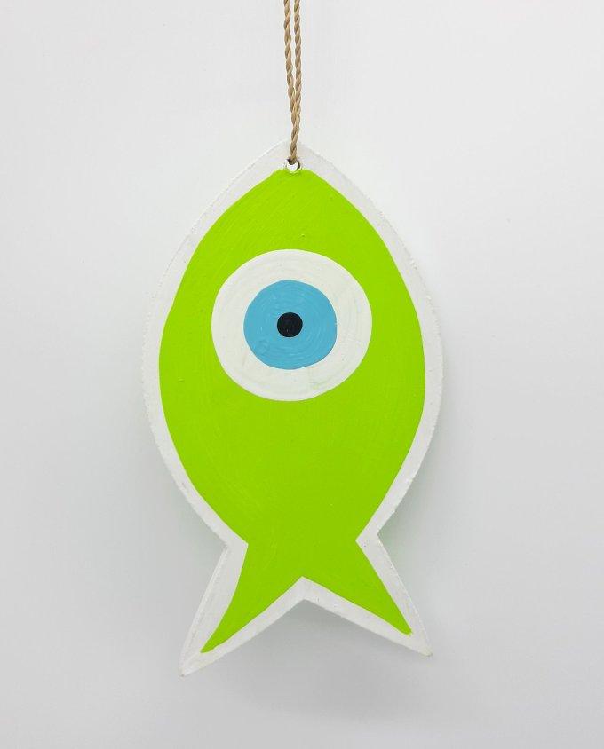 Ψάρι Ματάκι Ξύλινο Χειροποίητο Μήκος 18 cm ανοιχτό πράσινο