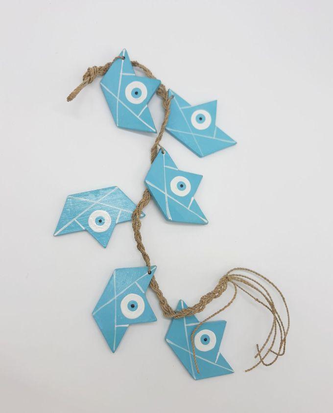 Garland of 6 boats evil eye wooden handmade color light blue