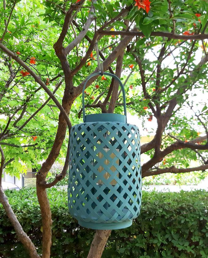 Lantern bamboo teal height 30 cm