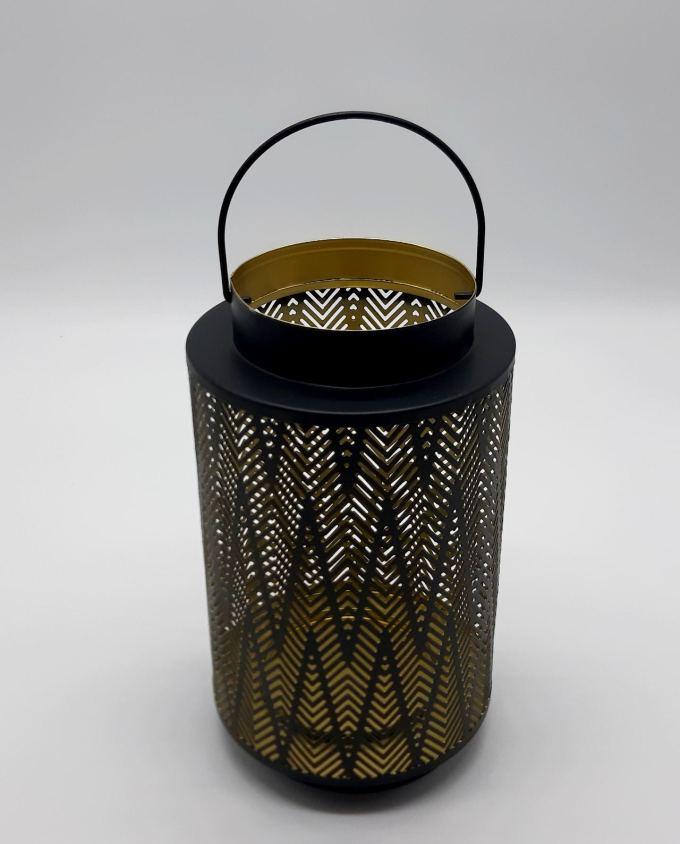 Lantern metal black gold height 24 cm