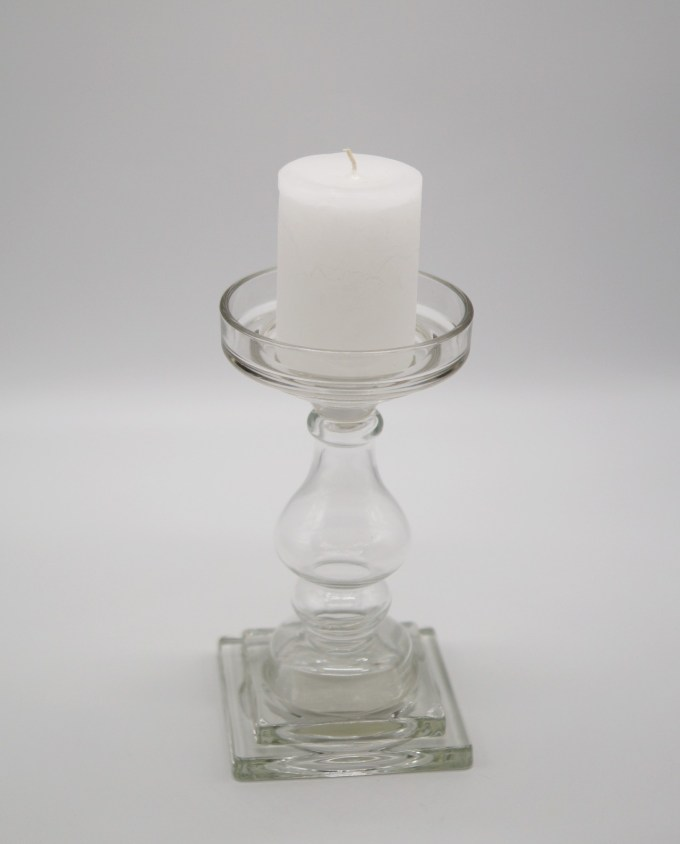 Candleholder Clear Glass height 24 cm