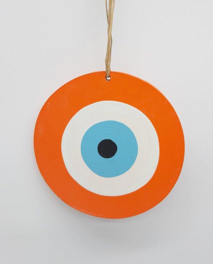 evil eye wooden handmade diameter 13cm color orange