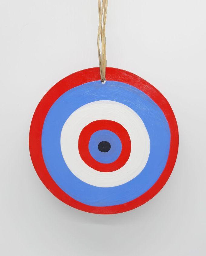 evil eye wooden handmade diameter 13cm color indigo red