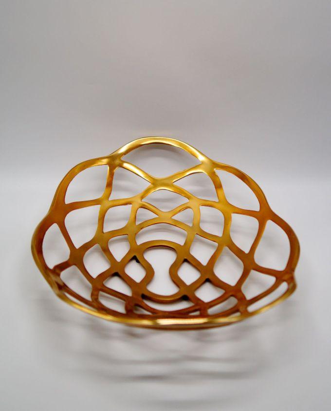 Πιατέλα αλουμίνιο χρυσή οβαλ 50 cm