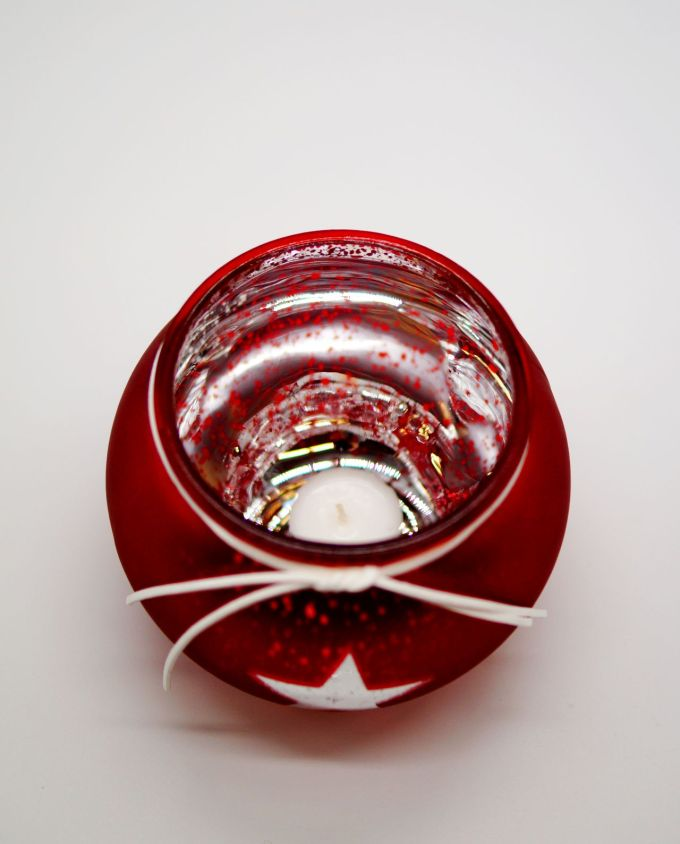"Votive Glass Round ""Star"" Red Silver"