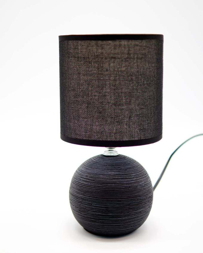 Table Lamp Black Ceramic Round Base