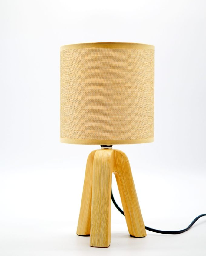 Table lamp with beige ceramic base