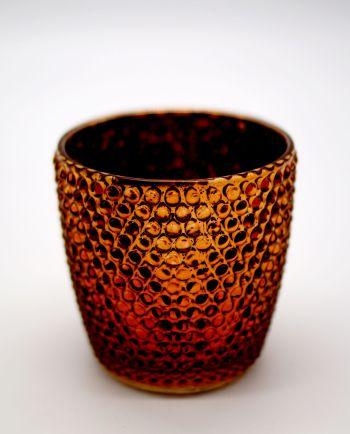 Tealight Glass Metallic Brown Small Dots