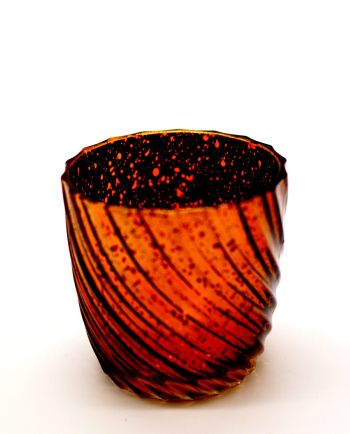 Tealight Glass Metallic Brown Waves