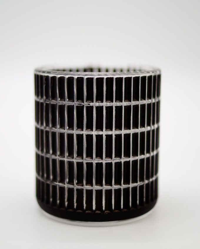Tealight Black Glass Rectangular Pattern
