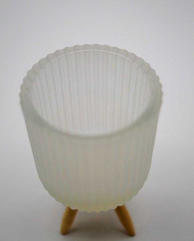 Votive of tealight white sandblast glass with wooden legs