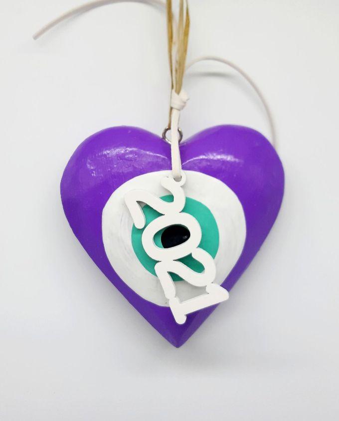 Lucky Charm Wooden Heart Evil Eye 2021 purple