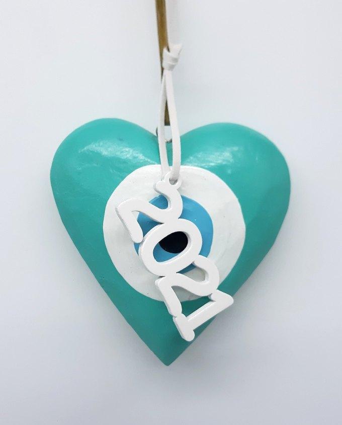 Lucky Charm Wooden Heart Evil Eye 2021 turquoise