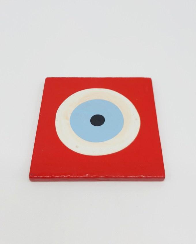 Σουβέρ Ματάκι Ξύλινο Χειροποίητο 9.5 cm x 9.5 cm χρώμα κόκκινο