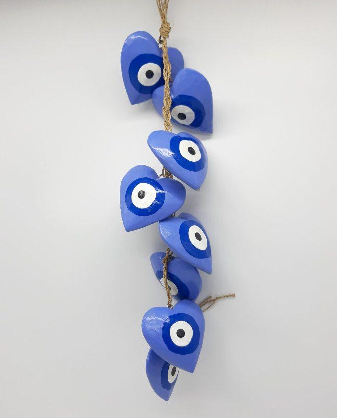 Garland 8 Wooden Hearts Evil Eye diameter 8cm Handmade Length 50 cm color indigo