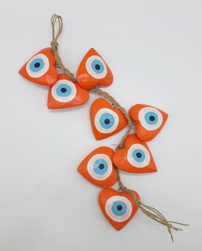 Garland 8 Wooden Hearts Evil Eye diameter 8cm Handmade Length 50 cm color orange