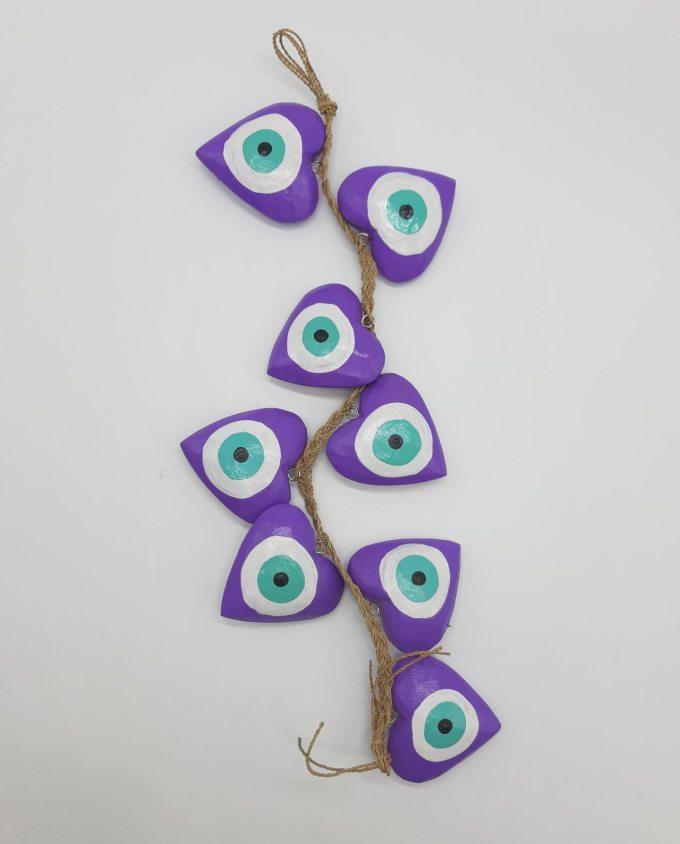 Garland 8 Wooden Hearts Evil Eye diameter 8cm Handmade Length 50 cm color purple